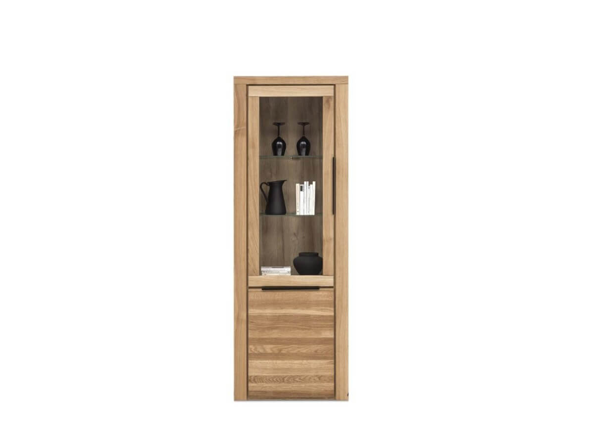 Vitrine Eltia von Viva in Eiche teilmassiv mit einer großen Glastüre und einer Holztüre