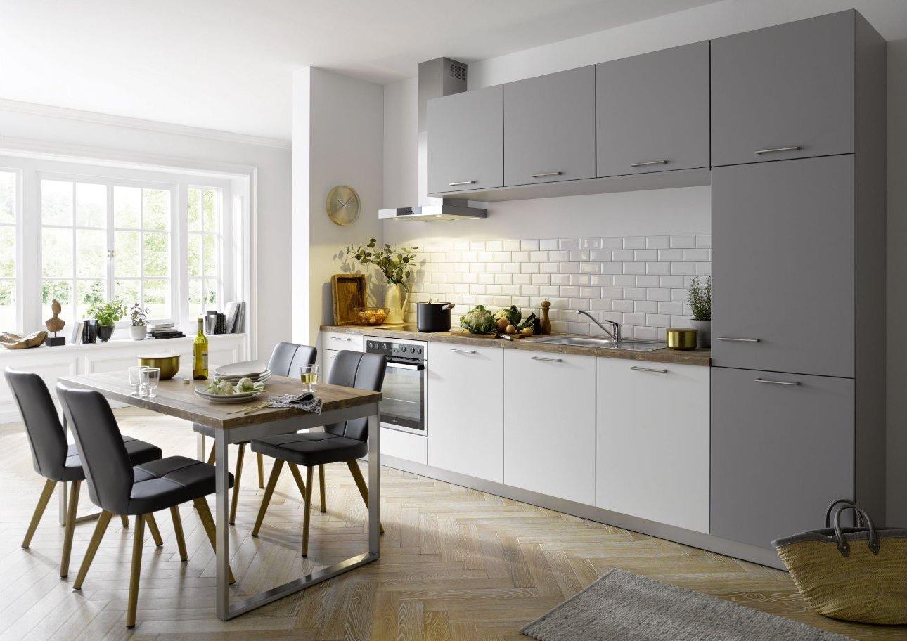Filigrane, moderne Küchenzeile Global 54.160 in weiß und grau