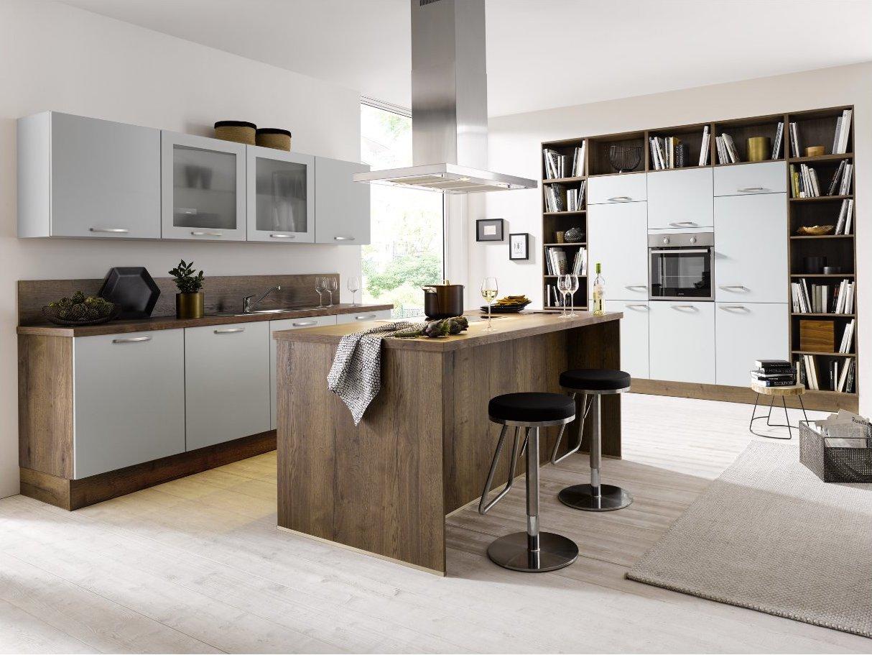 Küchezeile Global 52.170/55.100 mit Kochinsel im wohnlichen Flair