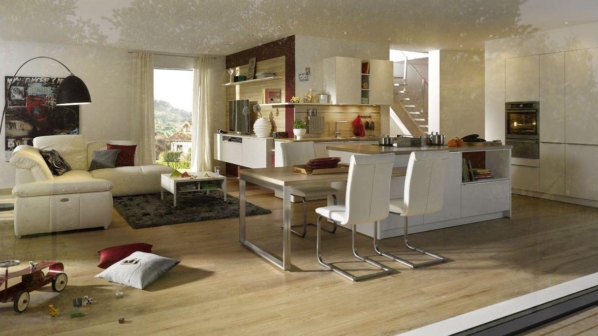 Offene Wohnküche von Global in weißem Satinlack
